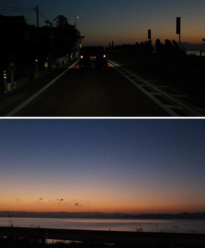 道中で空が明るみを帯びてきます。