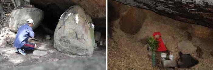 獅子窟の中に安置されている石仏です。
