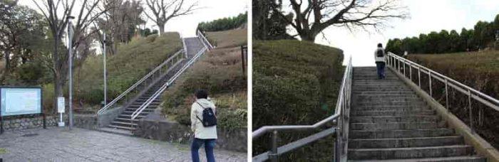 諏訪山展望台に続く石階段です。