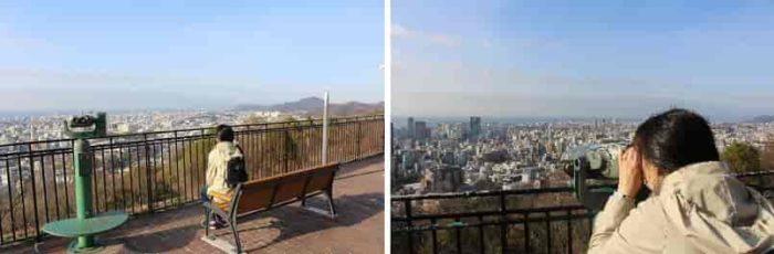 ベンチに座って景色を眺めます。