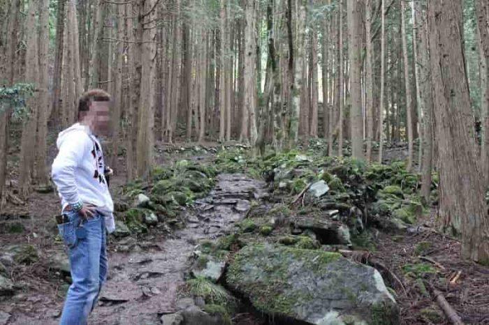 ゴツゴツ岩で滑りやすい山道です。