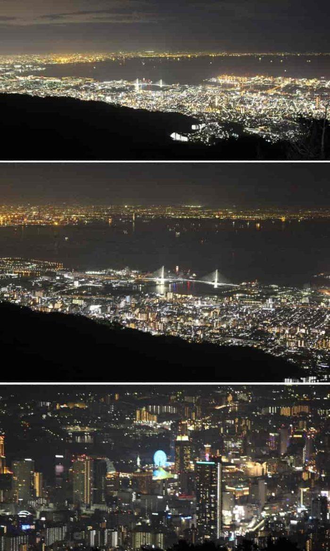 180度のパノラマ状に広がる夜景です。