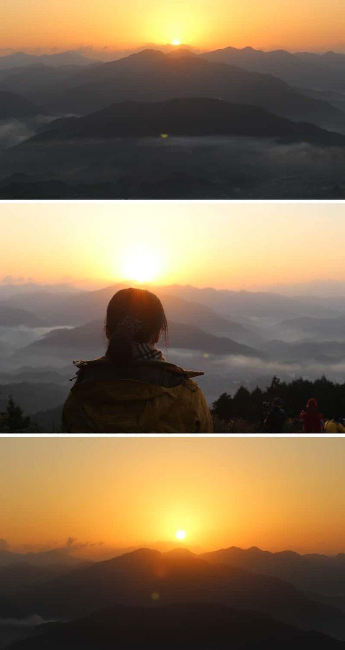 太陽が昇り始めます。
