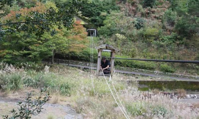 人力ロープウェイの野猿です。