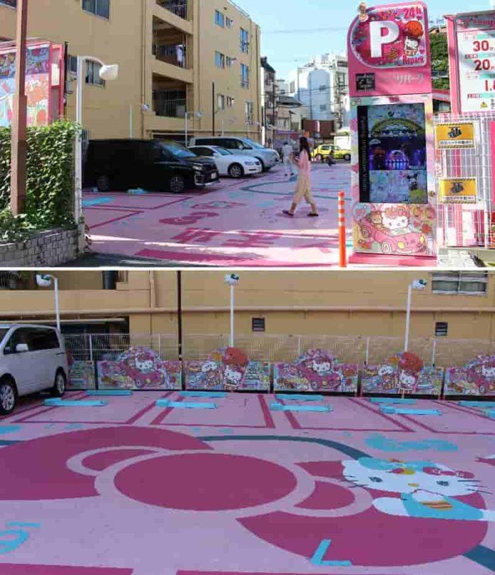 キティちゃんの絵が特徴的な駐車場です。