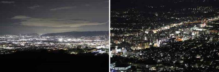 綺麗なパノラマ状の夜景です。